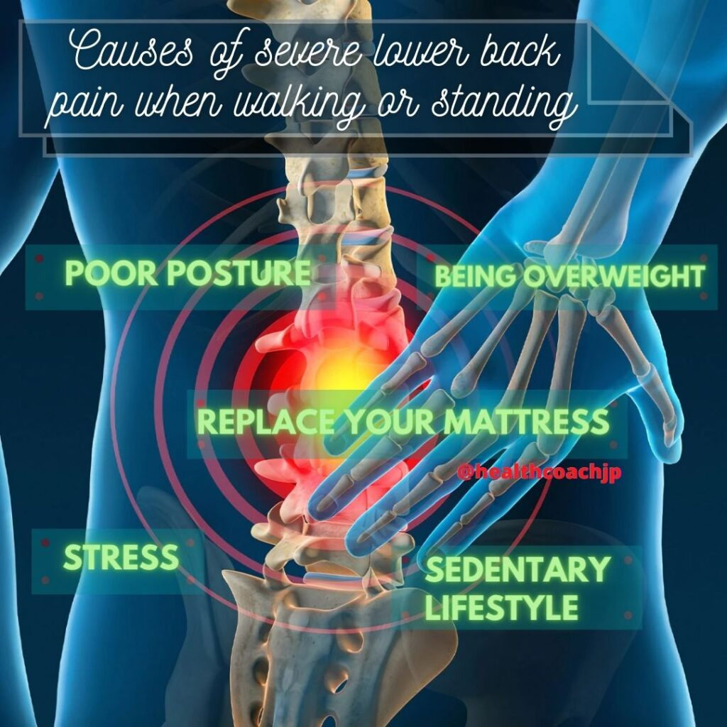 Causes of severe lower back pain when walking or standing